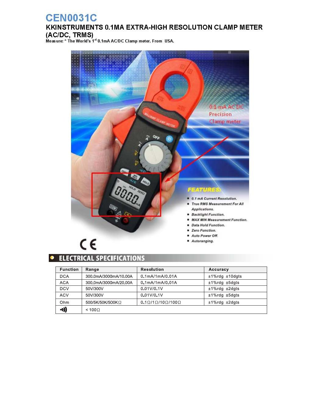 Cen0031c kkinstruments 01ma extra high resolution clamp meter ac cen0031c usa ma acdc clamp meterpage1 ccuart Choice Image